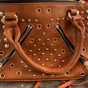 Mode luxe brown leather hand bag